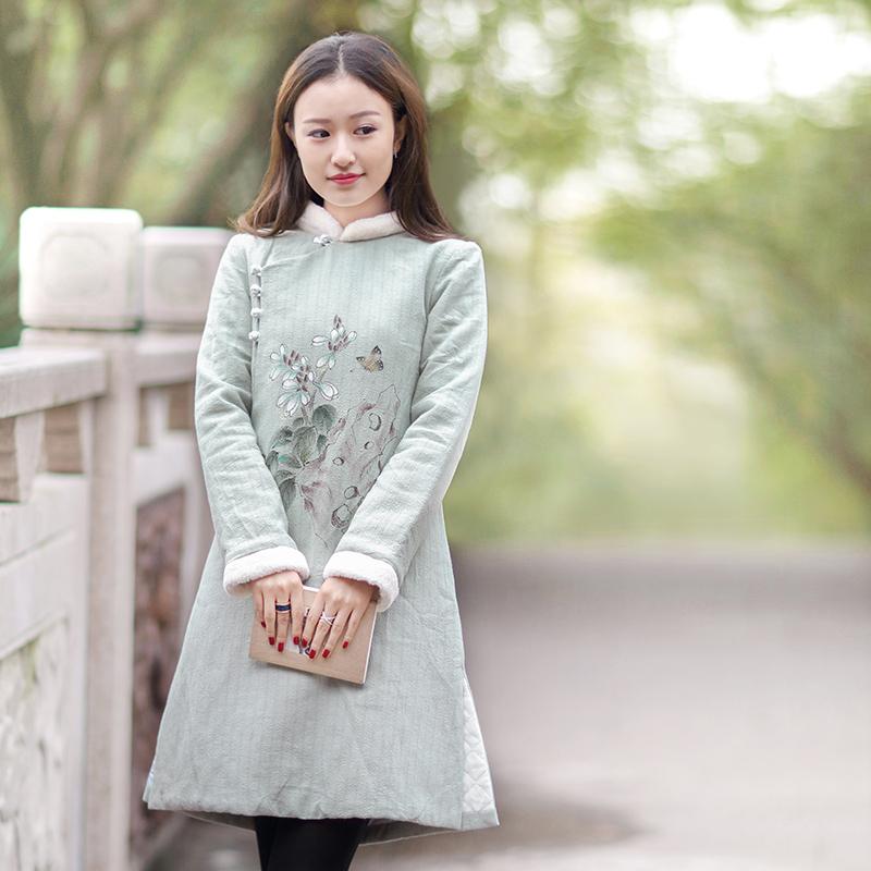 伶俐柠檬90389中国风棉衣女装民族风手绘棉麻棉服文艺范现货
