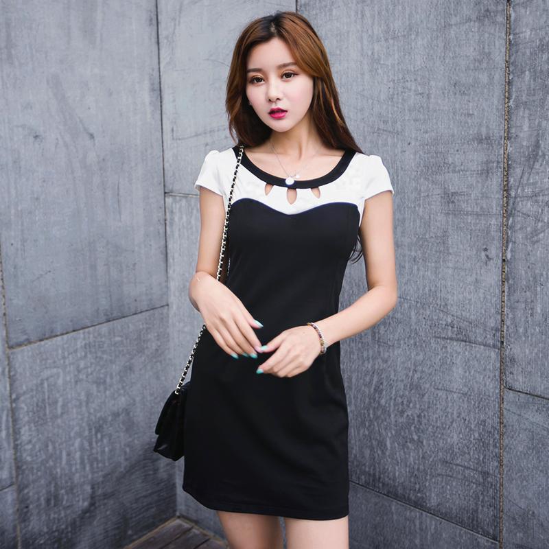 布噜阁2015夏季新款时尚连衣裙短袖韩版女装大码气质打底包臀裙子