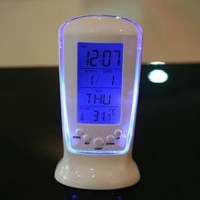 创意静音背光闹钟 LED闹钟长形计时闹钟 日期温度星期电子闹钟