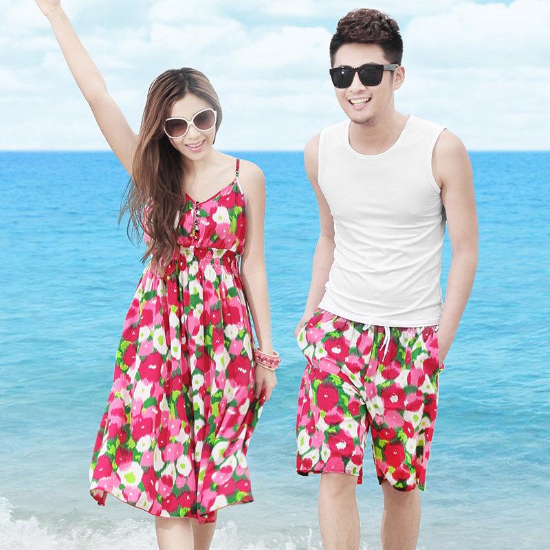 2016年新款情侣装夏蜜月旅行套装波西米亚连衣裙碎花T恤时尚上衣