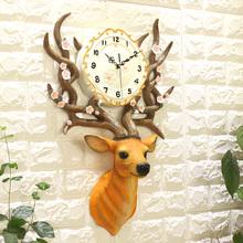 钟表挂钟客厅北欧鹿头现代简约创意欧式大气奢华装饰静音家用时钟