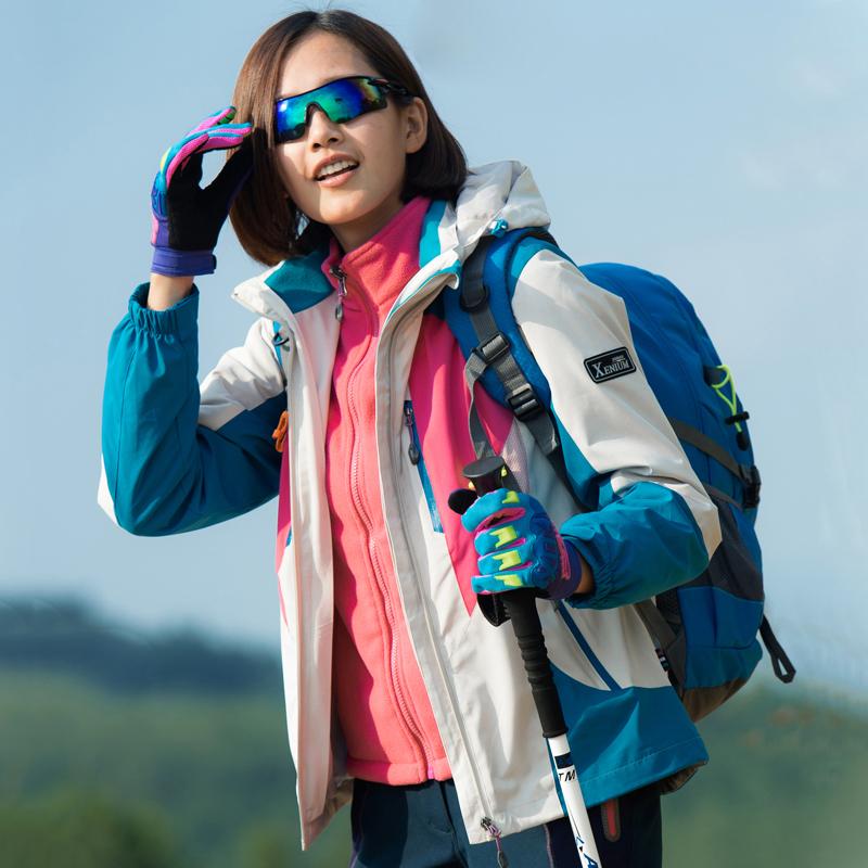 合一户外冲锋防风修身外套两件套男女透气春秋潮薄款衣女三登山服