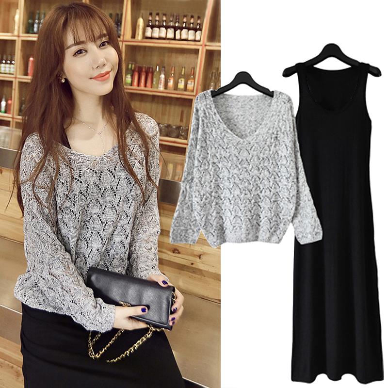 5码4色 2016大码女装长袖针织套装裙子韩版修身两件套连衣裙长裙