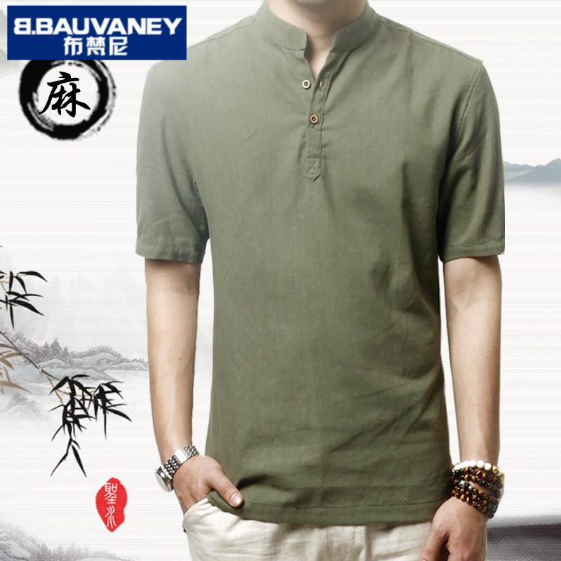 短袖衬衫夏季上衣男士复古棉麻立领大码中式国风亚麻