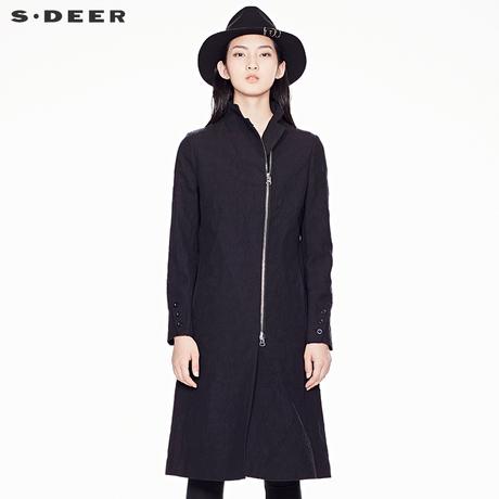 sdeer圣迪奥春装复古肌理斜襟两穿立领及膝风衣长外套女S17381830商品大图