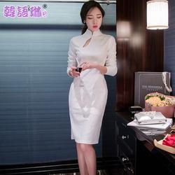 韩语琳空间2016春装新款yabo亚博体育复古立领镂空蕾丝连衣裙旗袍式礼服