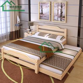 实木床1.8米双人床主卧现代简约1.5m单人床带拖床欧式床1.2经济型
