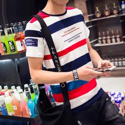 条纹短袖T恤男士韩版衣服潮流大码男装夏季圆领印花修身新款半袖