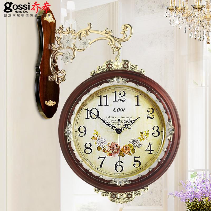 乔希欧式双面挂钟客厅钟表创意静音时钟表现代钟实木