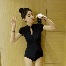 韩国代购显瘦黑色短袖前开拉链浮潜三角连体泳衣女保守遮肚泡温泉