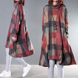 2015冬装新款女装大码女装韩版宽松堆堆领不规则打底秋冬季连衣裙