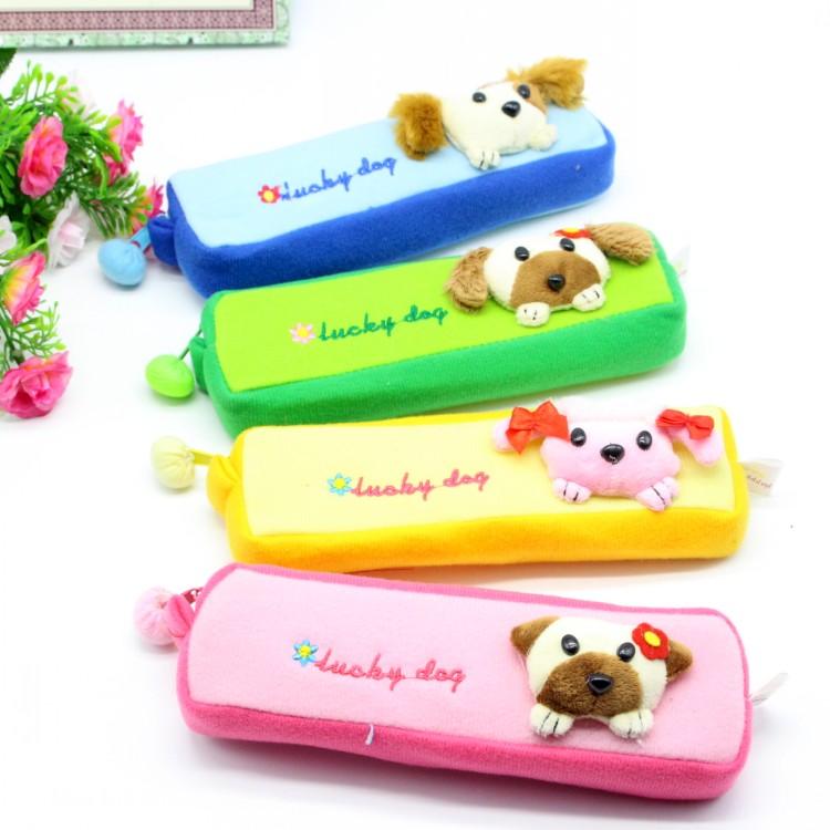 韩版立体可爱动物头笔袋毛绒玩具方形文具盒学生奖品