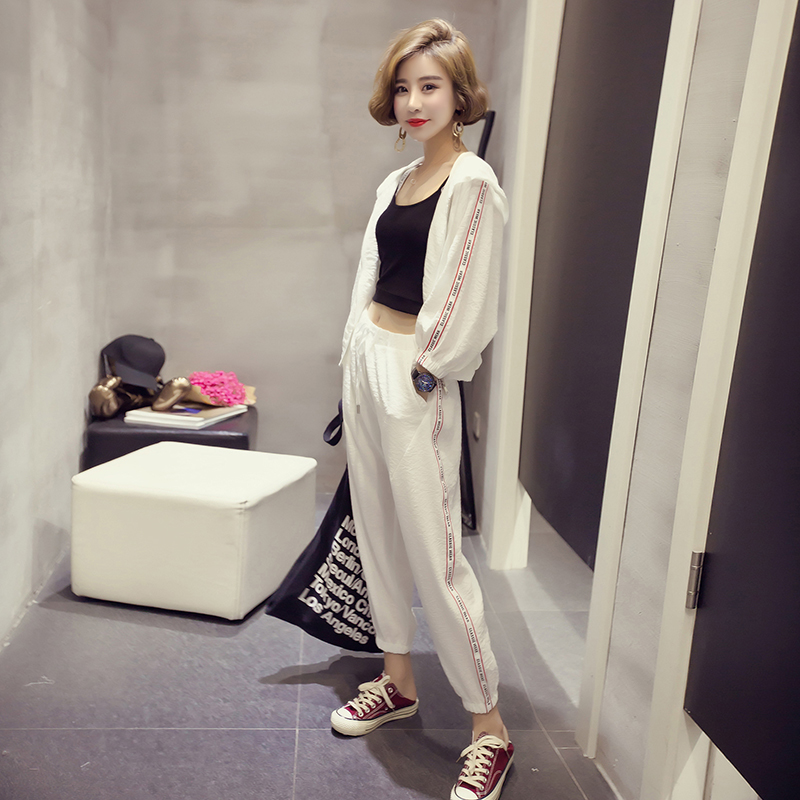 显瘦九分裤夏运动服修身休闲两件套时尚春装套装白色
