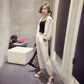 休闲套装女春装时尚潮2017新款修身显瘦九分裤夏白色运动服两件套