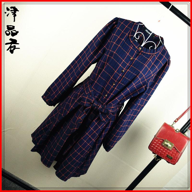 2015新款大码女装 胖mm秋装连衣裙长袖英伦风复古立领格子衬衫裙