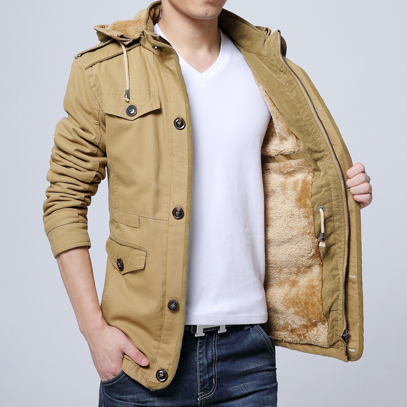 秋冬季风衣男加绒保暖加厚棉衣中长款外套纯棉中青年休闲大码夹克