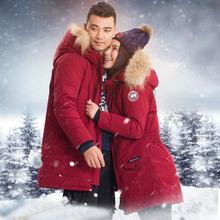 翡意2016冬季新款韩版宽松加厚连帽大毛领中长款羽绒服户外情侣装