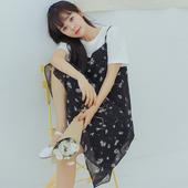 么宁夏季新款韩版甜美小清新文艺复古碎花雪纺吊带裙无袖连衣裙子