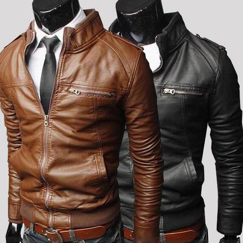 春季修身型外套立领男装短款夹克拉链青少年新款休闲仿皮皮衣皮衣