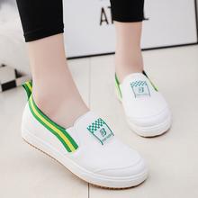 韩版2016春夏新款小白鞋帆布学生女鞋子一脚蹬单鞋乐福鞋懒人鞋潮