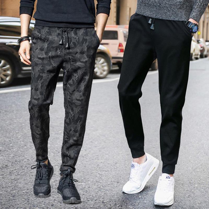 运动裤裤子小脚修身男士夏季裤九分学生迷彩宽松休闲