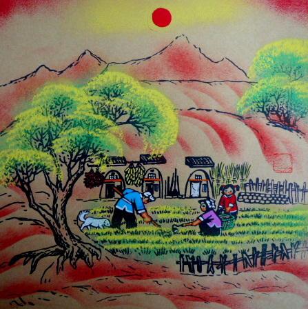 锄草种地农家院劳动陕北窑洞农家乐张青义户县农民画尺寸25x25cm