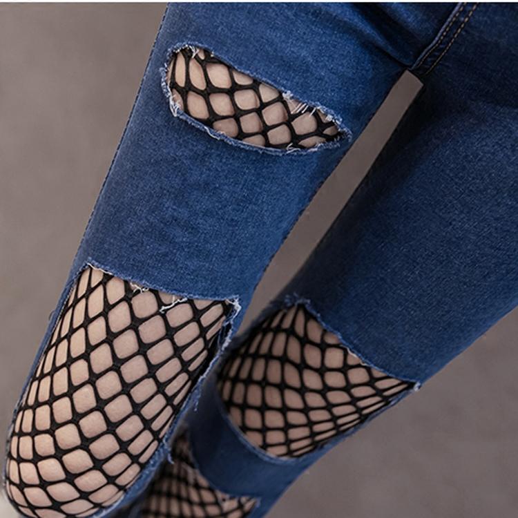 小腳牛仔褲緊身鉛筆彈力破洞毛邊九分褲高腰漁網性感