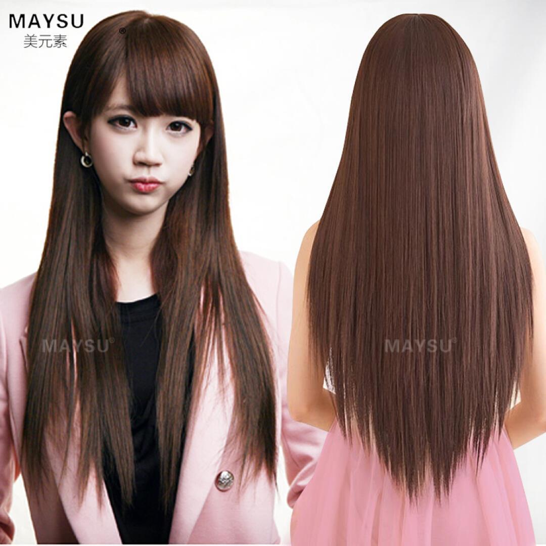 美元素(maysu) 美元素假发女 长直发女士假发套长发型假头发 黑