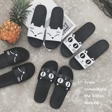韩版可爱小猫凉拖鞋女夏季新款家居家室内防滑浴室平底一字拖鞋软