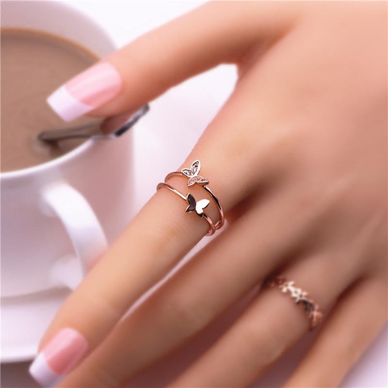 日韩镀18k玫瑰金戒指双蝴蝶开口尾戒女饰品学生礼物彩金指环包邮