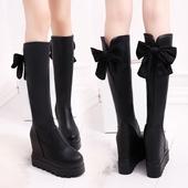 厚底内增高长靴女蝴蝶结女鞋 及膝靴松糕坡跟高跟弹力高筒靴女靴子