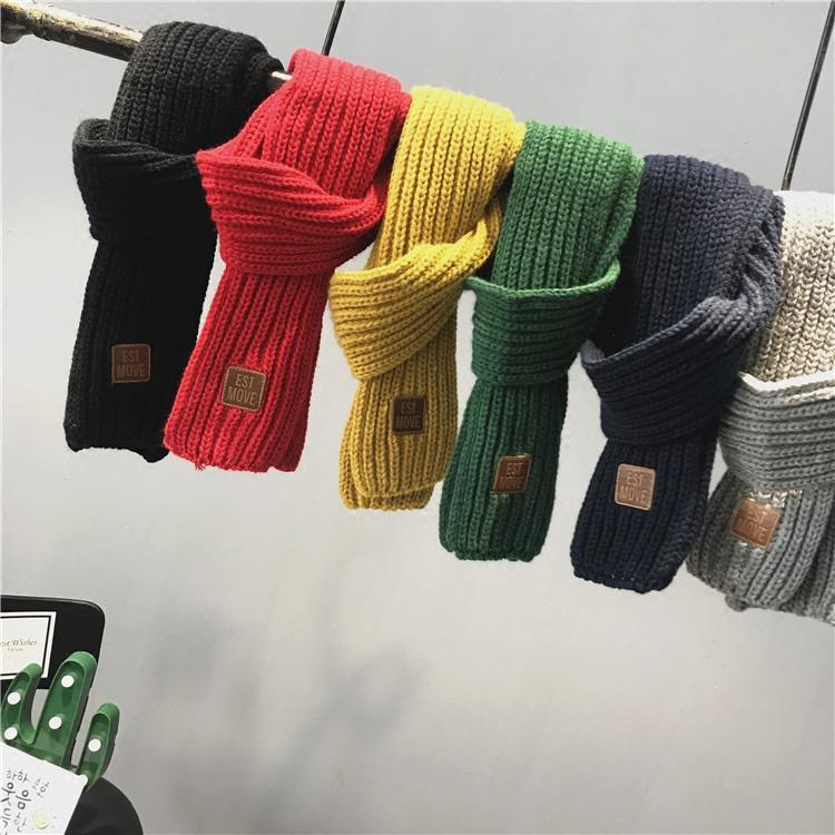 儿童针织围巾中小童装2017冬季新款男童女童毛线针织纯色百搭围巾