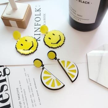柠檬水果时尚气质欧美夸张黄色笑