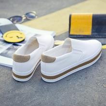 春季新款2017帆布鞋女韩版一脚蹬女鞋学生懒人鞋小白鞋厚底白鞋女