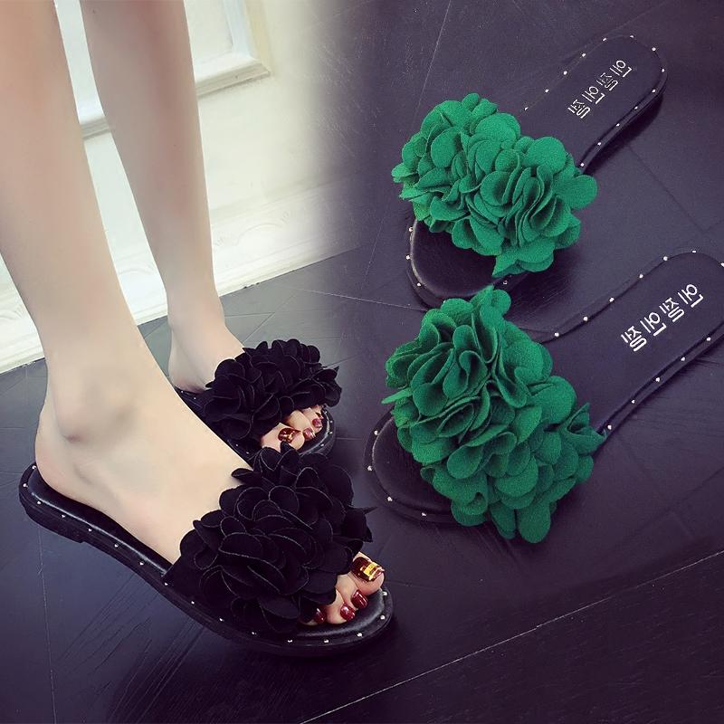 花朵夏季平底防滑字型時尚拖鞋