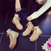靴鞋 夏季高帮马丁靴男英伦情侣短靴休闲男女靴子真皮圆头登山工装