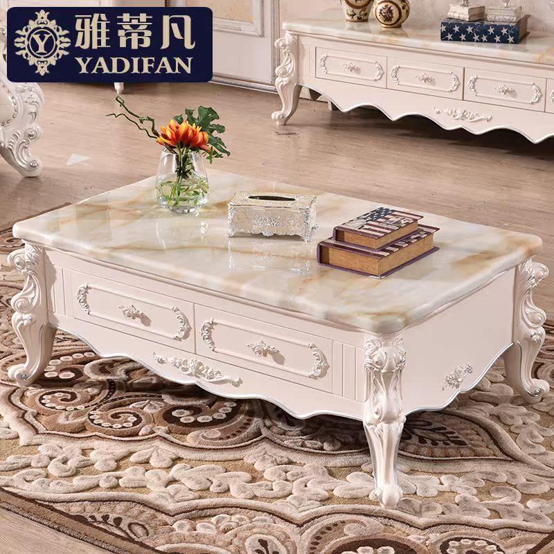 欧式大理石茶几小户型客厅法式雕花实木功夫