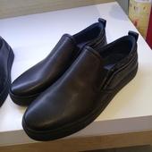 H13M7307 黑色低帮皮鞋 简约套脚休闲皮鞋 热风专柜2017年男士
