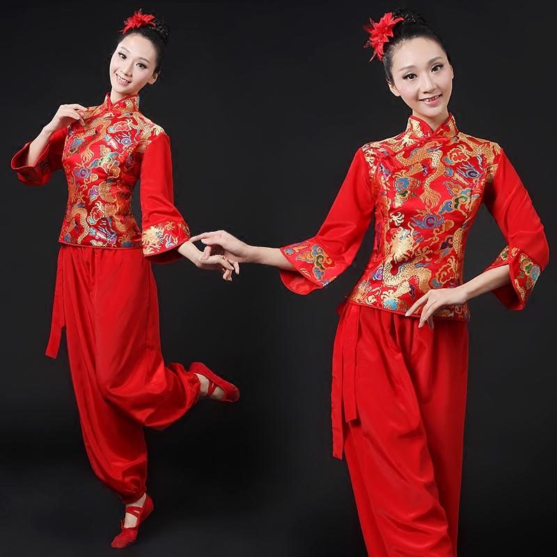 2016新款民族舞演出服打鼓服中老年秧歌服腰鼓舞古典舞扇子舞女