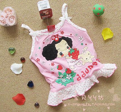 迷糊娃娃ddung正品 粉色女童全棉吊带衫/童装