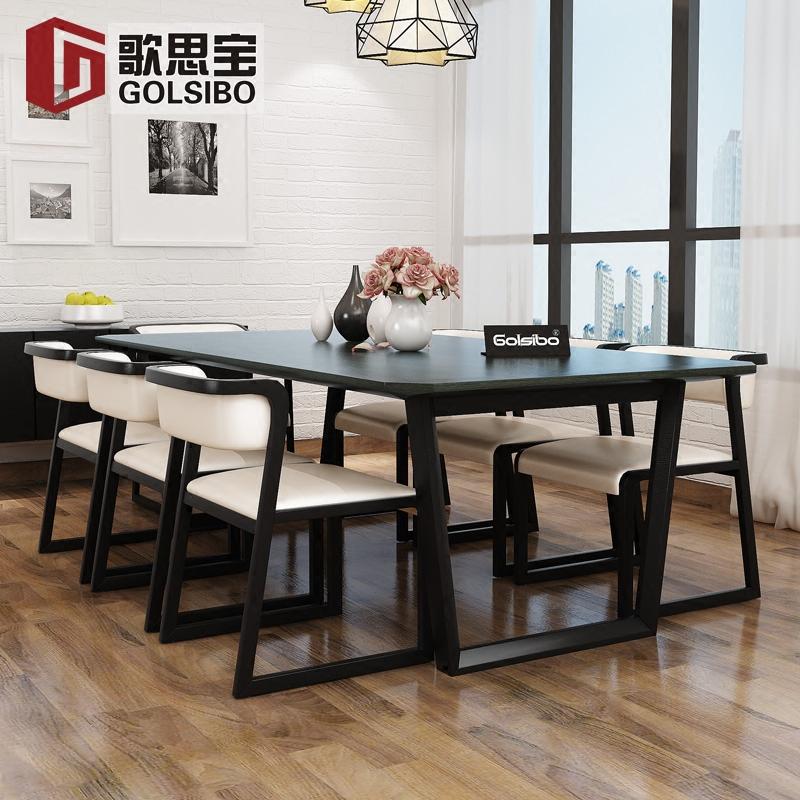 北欧餐桌现代简约小户型实木餐桌椅组合长方形6人