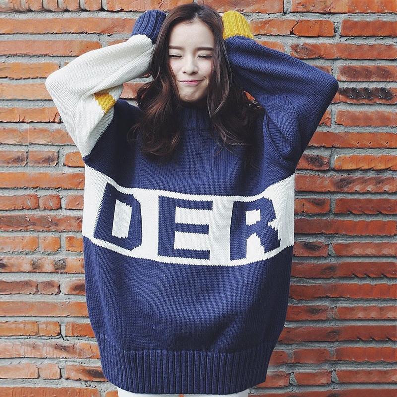 韩国半高领中长款大毛衣套头女加厚宽松韩版秋冬季学生毛衣裙外套