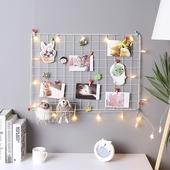 网格照片墙相框墙铁艺置物架ins铁架夹子相片墙装饰创意个性北欧