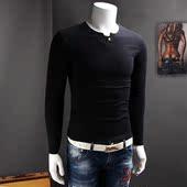 男式长袖T恤个性纽扣领口简单款百搭体恤衫2016秋装新款打底衫潮