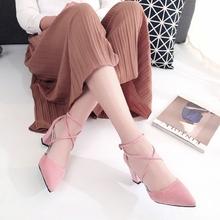 尖头中跟粗跟绒面单鞋 韩版 交叉绑带罗马女鞋 高跟鞋 2017春季新款
