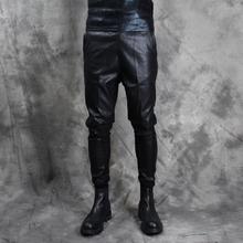 微跨小脚裤 个性 长裤 新款 潮男拼接锥型束脚裤 男士 皮裤 修身 韩版