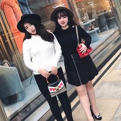 辣��起�x大�a女�b2017新款胖MM百搭超��假�杉�打底毛衣��衫秋冬