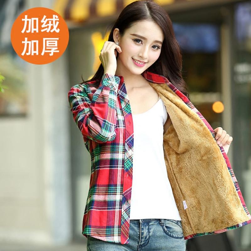 冬季新款加厚加绒保暖格子衬衫女韩版长袖纯棉打底衫大码女装外套