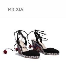 80360137 凉鞋 新品 女夏包头欧美草编毛球绑带坡跟鞋 送50优惠券