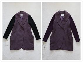 大品牌专柜正品低价新秋冬高档女装通勤深紫色拼接中长羊毛呢大衣